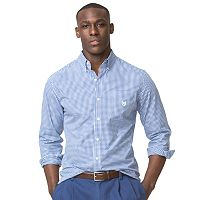 Men's Chaps Classic-Fit Gingham Checked Easy-Care Poplin Button-Down Shirt