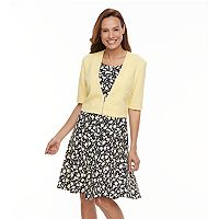 Women's Perceptions Printed A-Line Dress & Cardigan Set