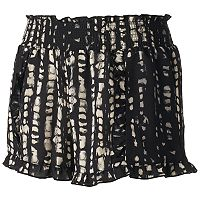 Juniors' About A Girl Print Ruffle-Hem Shortie Shorts
