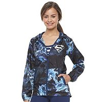 Juniors' DC Comics Superman Galaxy Print Windbreaker Jacket