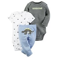Baby Boy Carter's Graphic Bodysuit, Print Bodysuit & Embroidered Pants Set