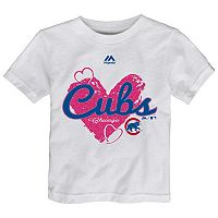 Toddler Majestic Chicago Cubs Heart Tee