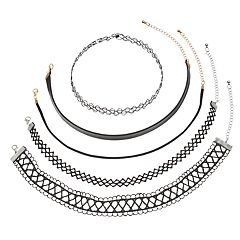 Mudd Tattoo, Lace & Faux Leather Choker Necklace Set