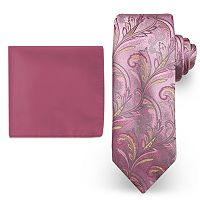 Big & Tall Steve Harvey Extra Long Paisley Tie & Solid Pocket Square Set