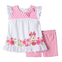 Disney's Minnie Mouse Baby Girl Floral Lace-Trim Top & Shorts Set