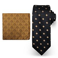 Big & Tall Steve Harvey Extra Long Grid Tie & Pocket Square Set