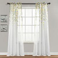 Half Moon 2-pack Weeping Flowers Curtain