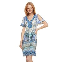 Women's World Unity Print Cold-Shoulder Shift Dress
