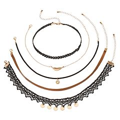 Mudd Feather, Faux Leather & Lace Choker Necklace Set