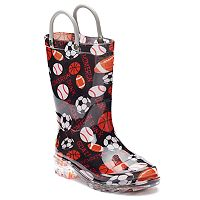 Western Chief Sports Toddler Boys' Light-Up Waterproof Rain Boots