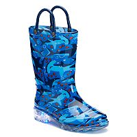 Western Chief Shark Chase Toddler Boys' Light-Up Waterproof Rain Boots