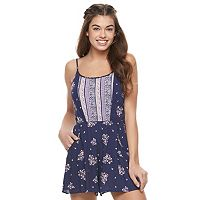 Juniors' Lily Rose Mixed Print Tank Romper