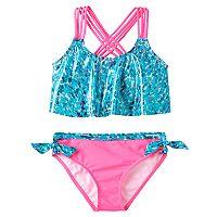 Girls 7-16 Pink Platinum Animal Print Tankini & Scoop Bottoms Swimsuit Set