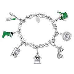 Laura Ashley Sterling Silver Lab-Created Sapphire Gardening Charm Bracelet Set by Sapphire Sets