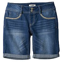 Girls 7-16 Mudd® Medium Wash Bermuda Jean Shorts