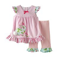 Baby Girl Bonnie Jean Rabbit Seersucker Top & Ruffled Pants Set