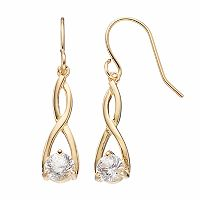 Brilliance 14k Gold Plated Twist Drop Earrings with SWAROVSKI ZIRCONIA