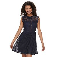 Juniors' Speechless Lace Illusion Skater Dress