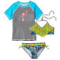 Girls 7-16 Big Chill Rashguard, Fringe Bikini & Scoop Bottoms Swimsuit Set