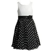 Girls 7-16 Emily West Black & White Polka-Dot Pleated Dress