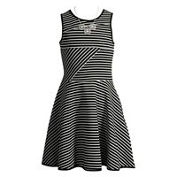 Girls 7-16 Emily West Bow Back Striped Skater Dress with Necklace