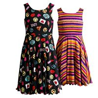 Girls 7-16 Emily West Reversible Emoji & Stripes Skater Dress