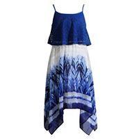 Girls 7-16 Emily West Lace Popover Handkerchief Hem Dress