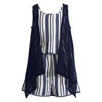 Girls 7-16 Emily West Lace Vest & Striped Pom-Pom Trim Romper Set
