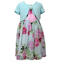 Girls 7-16 Bonnie Jean Short Sleeve Cardigan & Floral Pattern Chiffon Dress