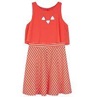 Girls 7-16 IZ Amy Byer Popover Bodice Striped Dress with Necklace