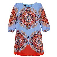 Girls 7-16 IZ Amy Byer 3/4-Length Sleeve Patterned Chiffon Shirt Dress with Necklace