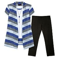 Girls 7-16 IZ Amy Byer Short Sleeve Striped Cozy Top & Leggings Set with Necklace