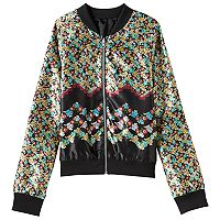 Girls 7-16 Fire Reversible Printed Bomber Jacket
