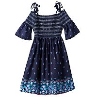 Girls 7-16 & Plus Size Mudd® Off Shoulder Smocked Printed Gauze Dress