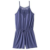 Girls 7-16 Mudd® Crochet Solid Romper