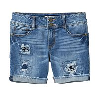Girls 7-16 & Plus Size Mudd® Dark Wash Patch Midi Jean Shorts