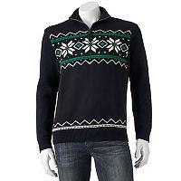 Men's Chaps Classic-Fit Snowflake Quarter-Zip Sweater