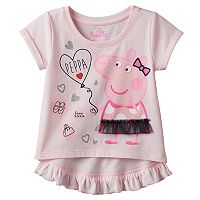 Toddler Girl Peppa Pig Ruffle High-Low Tee