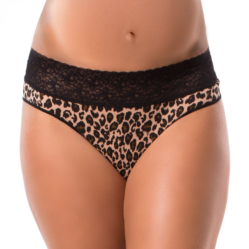 Maternity Pip & Vine by Rosie Pope Seamless Lace Thong Panty PV10333, Women's, Size: M-Mat, Leopard Print thumbnail