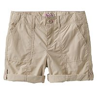 Girls 7-16 & Plus Size SO® Roll-Tab Neon Solid Utility Bermuda Shorts