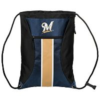 Forever Collectibles Milwaukee Brewers Striped Zipper Drawstring Backpack