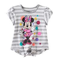 Disney's Minnie Mouse Toddler Girl Striped Faux Tie Front Tee