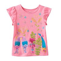 DreamWorks Trolls Poppy, Smidge Satin & Chenile Toddler Girl Neon Flutter Short Sleeve Graphic Tee