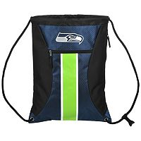 Forever Collectibles Seattle Seahawks Striped Zipper Drawstring Backpack