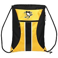 Forever Collectibles Pittsburgh Penguins Striped Zipper Drawstring Backpack