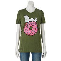 Juniors' Peanuts Snoopy Donut Graphic Tee