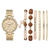 Folio Women's Crystal Watch & Bracelet Set