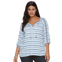 Plus Size French Laundry Striped Lace-Up Top
