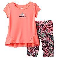 Toddler Girl adidas Ruffled Hem Top & Printed Capri Leggings Set