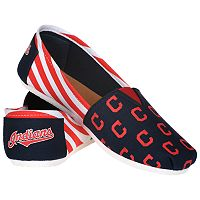 Women's Forever Collectibles Cleveland Indians Striped Canvas Shoes